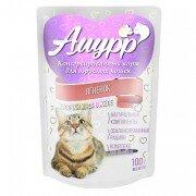 Консервированный корм для кошек Амурр Мясные кусочки в желе - Ягненок, 100г