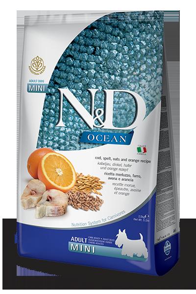 Сухой корм Farmina N&D Ocean беззерновой для собак мелких пород, треска, спельта, овес и апельсин