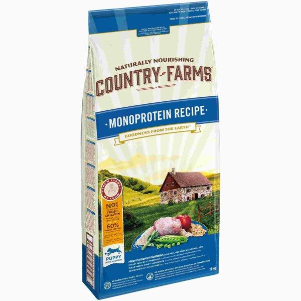 Сухой корм Country Farms монопротеиновый полнорационный для щенков, с высоким содержанием курицы