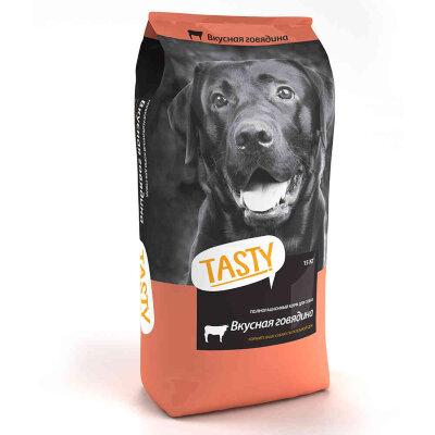 Сухой корм для взрослых собак Tasty с говядиной