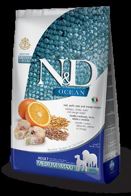 Сухой корм Farmina N&D Ocean беззерновой для собак средних и крупных пород, треска, спельта, овес и апельсин