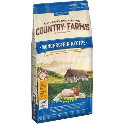 Сухой корм Country Farms монопротеиновый полнорационный для взрослых собак, с высоким содержанием курицы