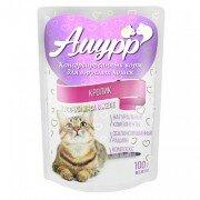 Консервированный корм для кошек Амурр Мясные кусочки в желе - Кролик, 100г