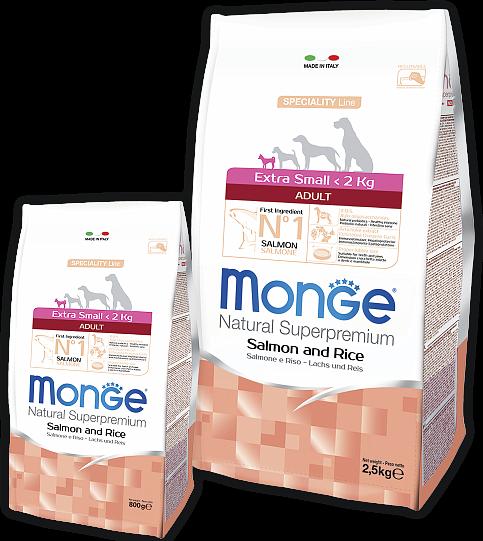 Сухой корм Monge Dog Speciality Extra Small для взрослых собак миниатюрных пород, Лосось с рисом