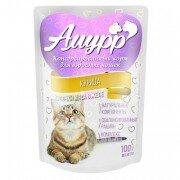 Консервированный корм для кошек Амурр Мясные кусочки в желе - Курица, 100г