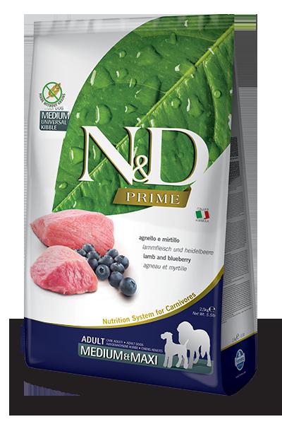 Сухой корм Farmina N&D Prime Adult Medium & Maxi беззерновой для взрослых собак средних и крупных пород с ягненком и черникой