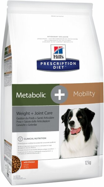Сухой корм Hill's Prescription Diet Metabolic+Mobility для коррекции веса и здоровья суставов собак, 12кг