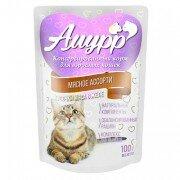 Консервированный корм для кошек Амурр Мясные кусочки в желе - Мясное ассорти, 100г
