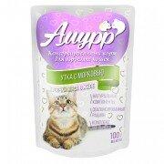 Консервированный корм для кошек Амурр Мясные кусочки в желе - Утка с морковью, 100г