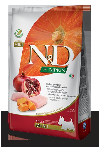 Сухой корм Farmina N&D Pumpkin Chicken&Pomegranate Adult Mini беззерновой для взрослых собак мелких пород с курицей, тыквой и гранатом
