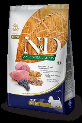 Сухой корм Farmina N&D Ancestral Grain Dog Adult Mini низкозерновой для взрослых собак мелких пород с ягненком и черникой