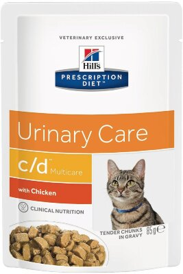 Паучи Hill's Prescription Diet c/d Multicare для профилактики МКБ у кошек, с курицей, 12шт x 85г