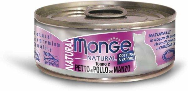 Консервы для кошек Monge PETTO di POLLO con MANZO с тунцом, курицей и говядиной, 80г