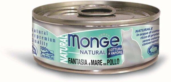 Консервы для кошек Monge FANTASIA di MARE con POLLO с морепродуктами и курицей, 80г