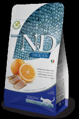 Сухой корм Farmina N&D Cat Ocean беззерновой для взрослых кошек, Сельдь и апельсин