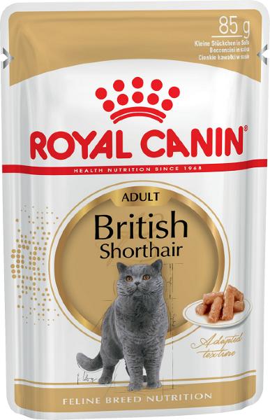 Паучи Royal Canin British Shorthair Adult для британских короткошерстных кошек, кусочки в соусе, 85г