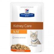 Паучи Hill's Prescription Diet k/d для лечения заболеваний почек у кошек, с курицей, 12шт x 85г