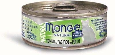 Консервы для кошек Monge TONNO del PACIFICO con POLLO с тунцом и курицей, 80г