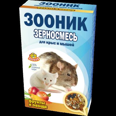 """Зерносмесь для крыс и мышей Зооник """"С фруктами и овощами"""" Стандарт, 400 г"""