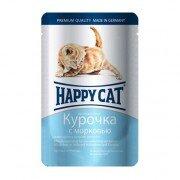Паучи Happy Cat нежные кусочки в соусе для котят c курочкой и морковью, 22шт x 100г