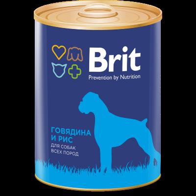 Консервы Brit Premium для собак всех пород, говядина и рис, 850г