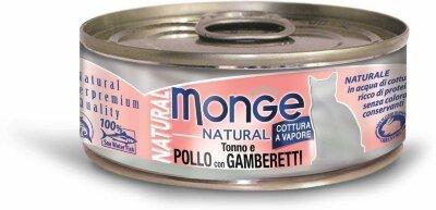 Консервы для кошек Monge POLLO con GAMBERETTI с тунцом, курицей и креветками, 80г