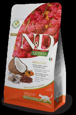 Сухой корм Farmina N&D Cat Quinoa Skin&Coat Herring беззерновой для взрослых кошек, Сельдь, киноа, кокос и куркума