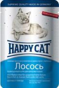 Паучи Happy Cat нежные кусочки в соусе для кошек (лосось), 22шт x 100г