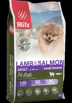 Сухой корм Blitz Holistic для взрослых собак мелких пород беззерновой Ягненок и Лосось