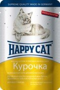 Паучи Happy Cat нежные кусочки в соусе для кошек (курочка), 22шт x 100г