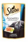 Паучи Sheba Appetito для кошек в желе с тунцом и лососем, 24x85г