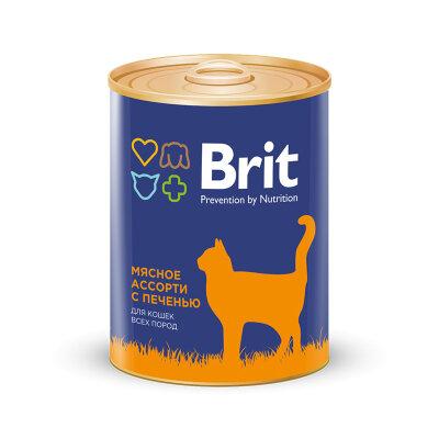 Консервы Brit Premium для взрослых кошек, мясное ассорти с печенью, 340г