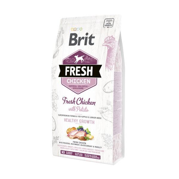 Сухой корм для щенков Brit Fresh Chicken with Potato со курицей и картофелем - Здоровый рост