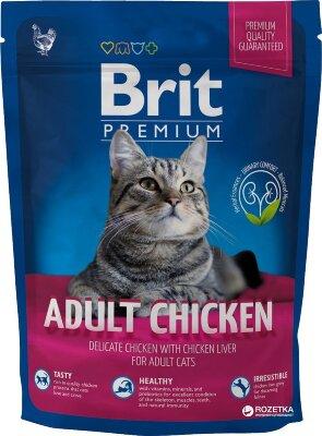 Сухой корм  для кошек Brit Premium Cat Adult Chicken с мясом курицы и куриной печенью