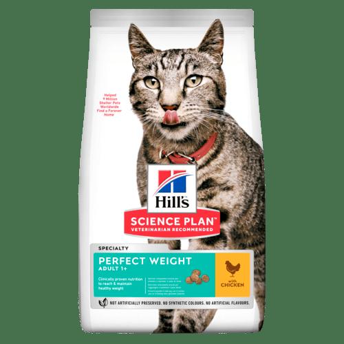Сухой корм Hill's Science Plan Perfect Weight для взрослых кошек, склонных к набору лишнего веса, с курицей