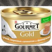 Консервы GOURMET GOLD для кошек, Паштет с уткой, морковью и шпинатом, 24шт x 85г