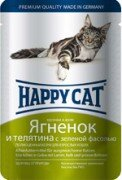 Паучи Happy Cat полнорационный корм для кошек кусочки в желе (ягненок и телятина), 22шт x 100г