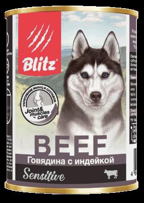 Консервированный корм Blitz Sensitive для собак Говядина с Индейкой