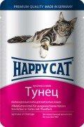 Паучи Happy Cat полнорационный корм для кошек кусочки в желе (тунец), 22шт x 100г