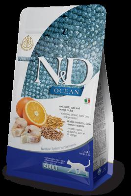 Сухой корм Farmina N&D Cat Ocean беззерновой для взрослых кошек, Треска, спельта, овес и апельсин