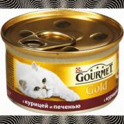 Консервы GOURMET GOLD для кошек, Курица и печень, 24шт x 85г