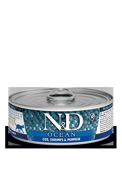 Консервы Farmina N&D Ocean для взрослых кошек, Треска, креветки и тыква, 80г