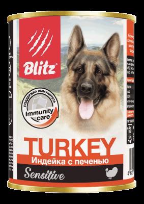 Консервированный корм Blitz Sensitive для собак Индейка с Печенью