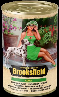 Консервированный корм Brooksfield Adult Dog для собак Говядина с Уткой и рисом