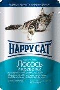 Паучи Happy Cat полнорационный корм для кошек кусочки в желе (лосось и креветки), 22шт x 100г