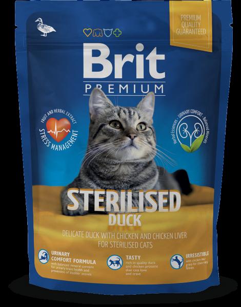 Сухой корм Brit Premium Cat Sterilised для кастрированных котов и стерилизованных кошек, с уткой и куриной печенью