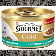 Консервы GOURMET GOLD для кошек, Лосось и цыпленок, 24шт x 85г