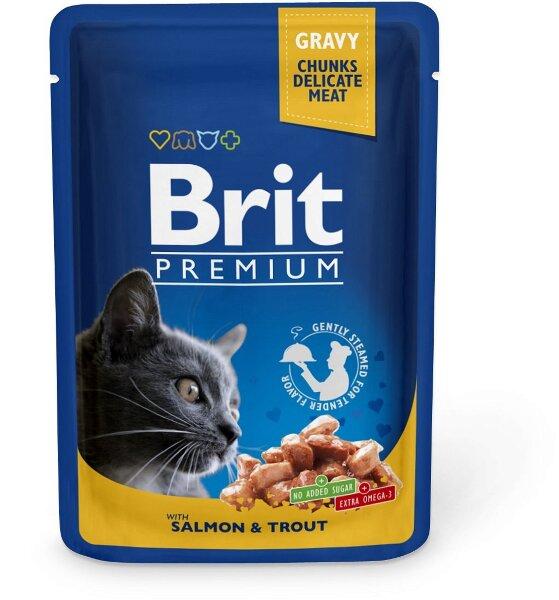 Паучи для кошек Brit Premium Лосось и форель, 100г