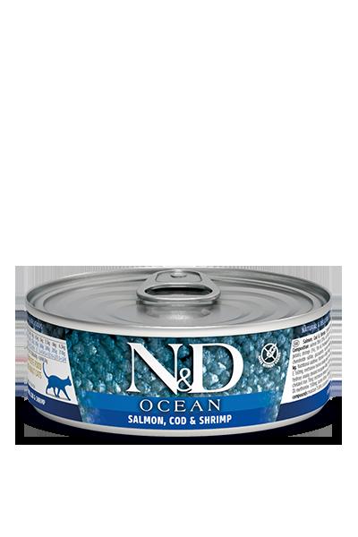 Консервы Farmina N&D Ocean для взрослых кошек, Лосось, треска и креветки, 80г