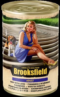 Консервированный корм Brooksfield Adult Dog для собак Говядина с Ягненком и рисом